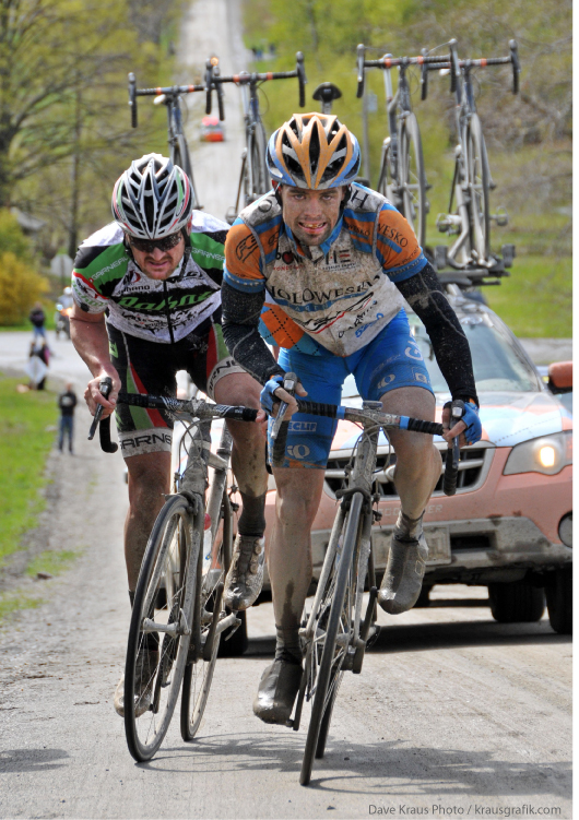 Floyd Landis and Caleb Fairly on Meeting House Rd  - 2010 Tour of the Battenkill